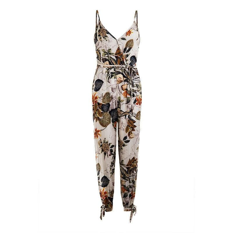 The Best 2019 New Floral Print Spaghetti Strap Side Split Spring Summer Holiday Jumpsuit plus size for Women Overalls Streetwear Online - Hplify