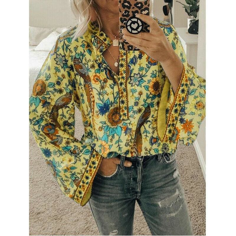 The Best 2019 New Hot Vintage Women Autumn Summer Boho Floral V-Neck Oversize Blouse Tops Plus Size S-XL Loose Ladies Shirts Online - Hplify