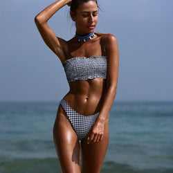 The Best 2019 New Sexy Women Bandage High Waist Bikini Set Push Up Strapless Padded Bra Swimsuit Swimwear Bathing Suit Online - Hplify