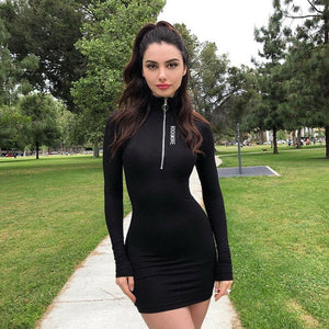Buy Cheap 2019 New Sexy Women Summer Casual Bodycon Long Sleeve Zipper High Neck Short Mini Dress Casual Sportwear Online - Hplify
