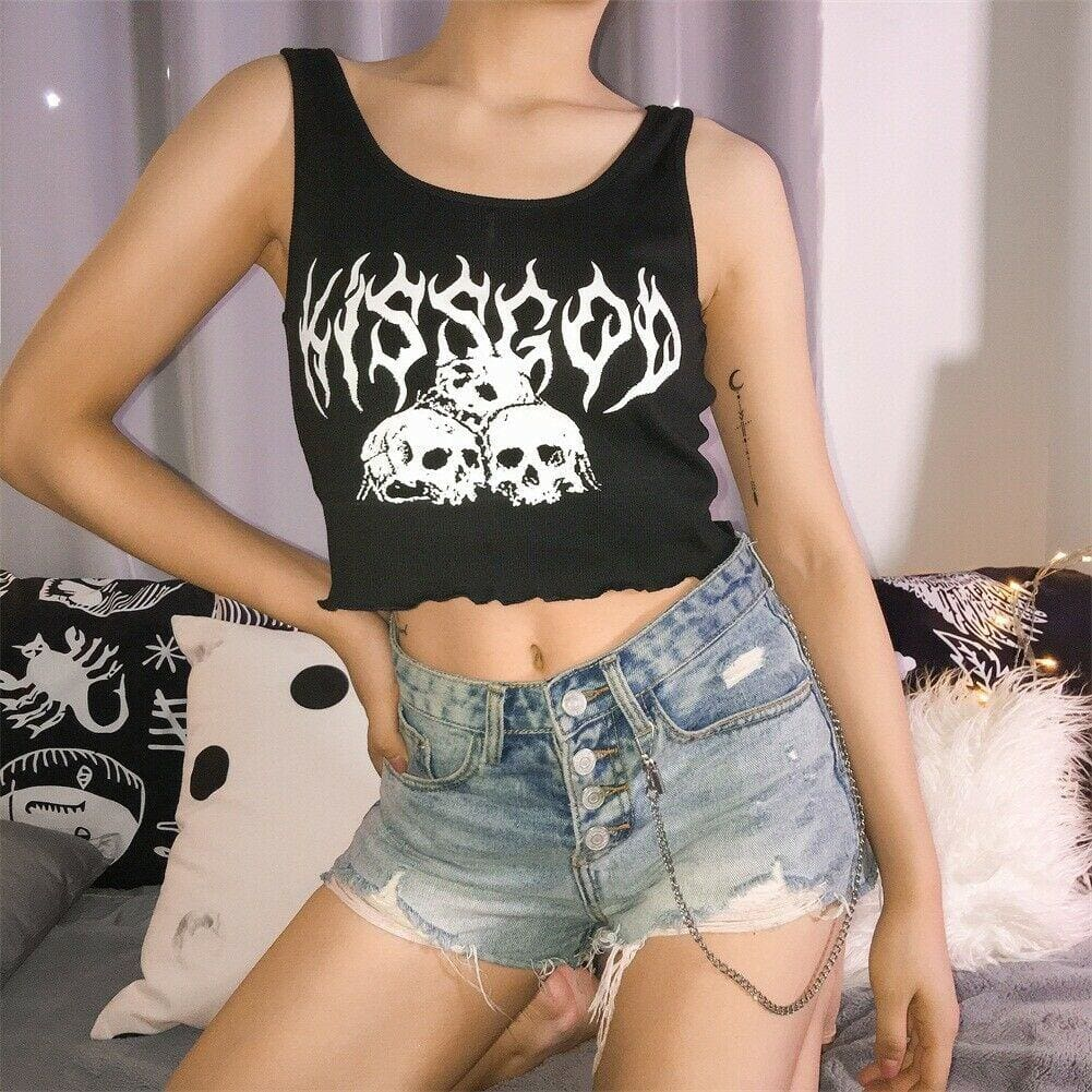 2019 New Sexy Womens Casual Slim Tank Top Vest Blouse Sleeveless Print Crop Top Shirt Cami Top Summer Clothes - Tops