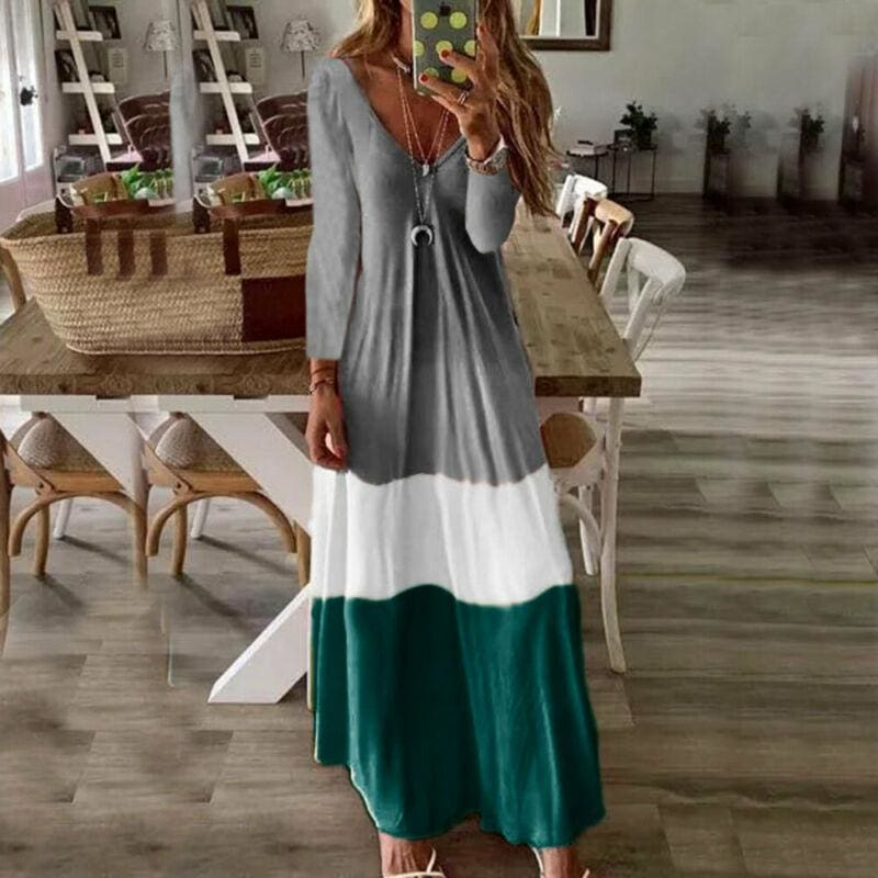 The Best 2019 New Summer Autumn Women Boho V-Neck Splice Long Party Maxi Dress Ladies Casual V neck Kaftan Beach Dress Sundress Online - Source Silk