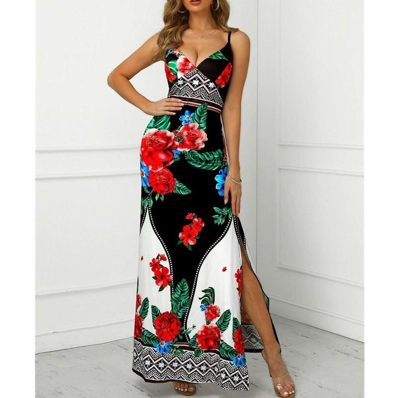 The Best 2019 New Trend Women Summer Bohemian Floral Dress Beach Holiday Sexy Evening Party Sleeveless Losoe Sundress Online - Source Silk