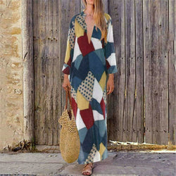The Best 2019 New Women Boho Baggy Gypsy Kaftan Dress Holiday Loose Long Maxi Fashion Ladies V neck Beach Dress Sundress Online - Hplify