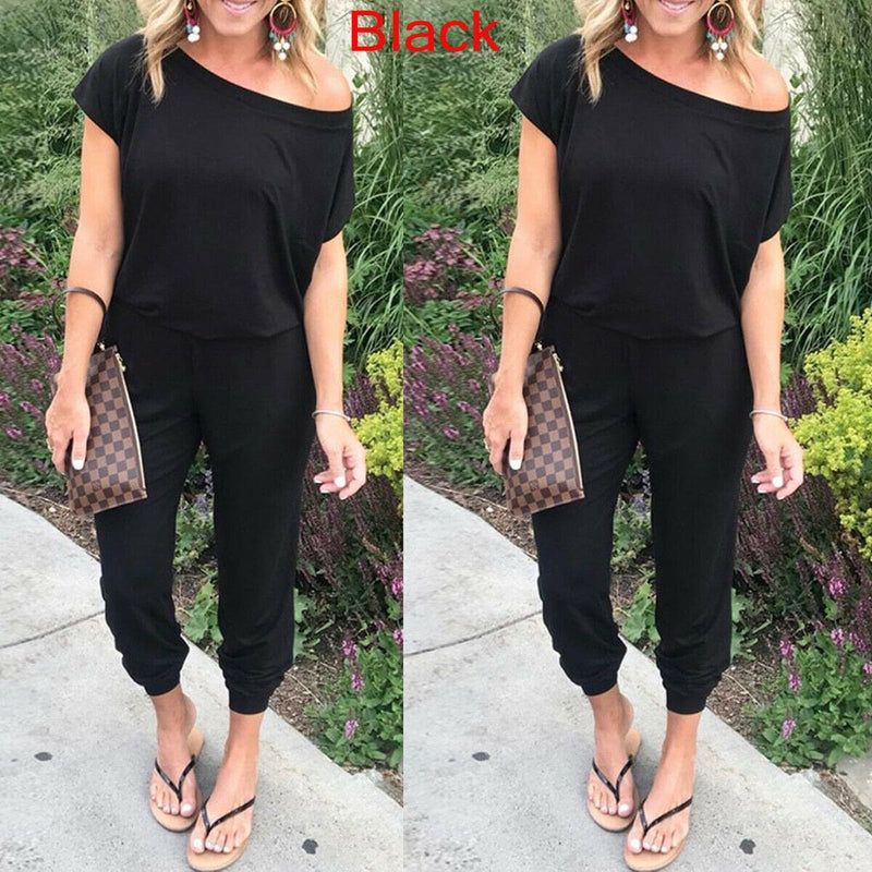 The Best 2019 New Women Casual One-Shoulder Wide Leg Jumpsuit Fashion Ladies Summer Soft Loose Playsuit Bodycon Party Trousers Jumpsuit Online - Hplify