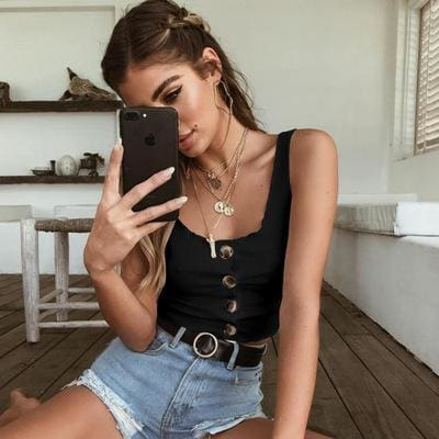 The Best 2019 Summer Crop Top Women Button Ruffle Cropped Tank Top Online - Source Silk