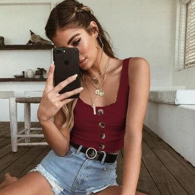 The Best 2019 Summer Crop Top Women Button Ruffle Cropped Tank Top Online - Hplify