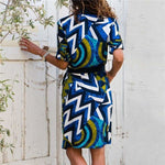 Women Striped Print Lace Up Beach DressPlus Size - Hplify