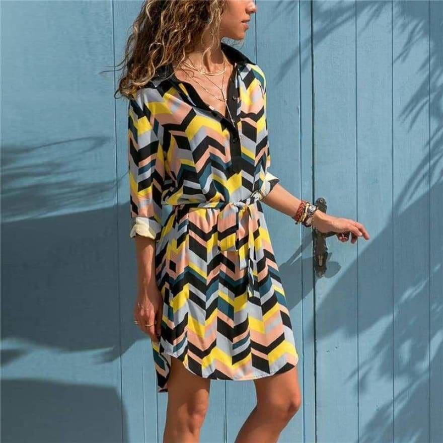 Buy Cheap Women Striped Print Lace Up Beach DressPlus Size Online - Hplify
