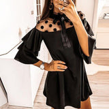 Sexy Mesh Polka Dot See Through Ruffled Turtleneck Butterfly Sleeve Women Dress Sexy Dress Women Party Night