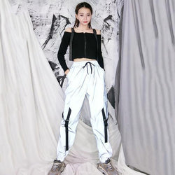 Spring Loose Reflective Cargo Pants Glowing Streetwear Ribbon Sweatpant Women Casual  Trousers Hip Hop Harajuku cargo pants
