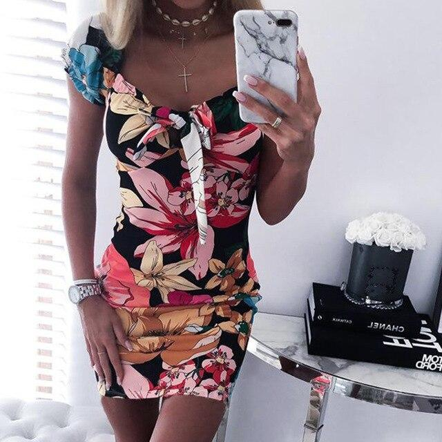 The Best Women Bodycon Dress Fashion Sexy Square Collar Floral Printed Short Sleeve Women Dress Sexy Dress Club Wear Online - Hplify