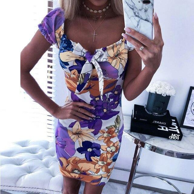 Women Bodycon Dress Fashion Sexy Square Collar Floral Printed Short Sleeve Women Dress Sexy Dress Club Wear