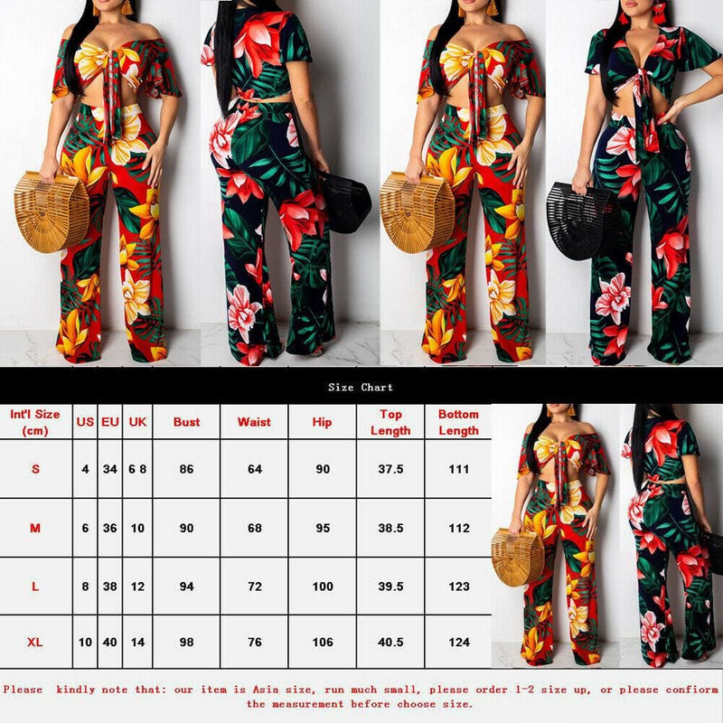 The Best 2PC  Women Floral V-Neck Crop Top+Stretch Wide Leg Trousers Pants Online - Hplify