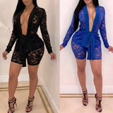 Buy Cheap 2pcs Fashion Women Long Sleeve V-Neck Bodycon Jumpsuit Sexy Slim Lace Tops+Pants Set Casual Solid Clubwear Online - Hplify