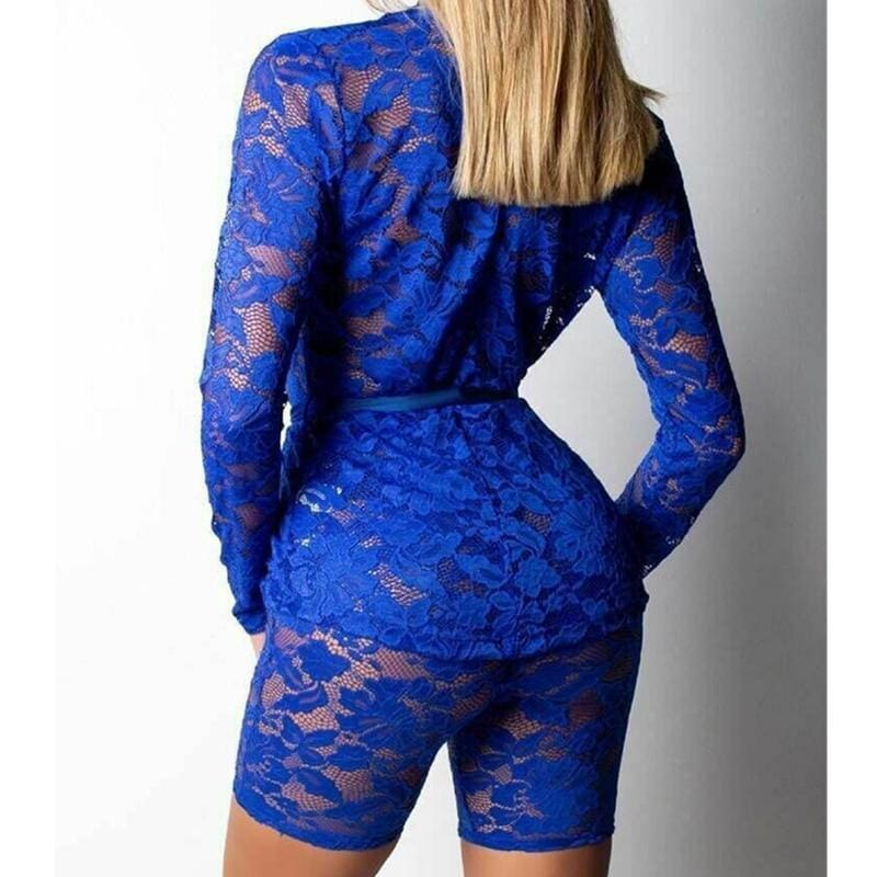 The Best 2pcs Fashion Women Long Sleeve V-Neck Bodycon Jumpsuit Sexy Slim Lace Tops+Pants Set Casual Solid Clubwear Online - Hplify