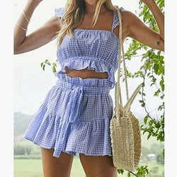 The Best 2pcs Fashion Women Plaid Outfits Set Rompers Jumpsuit Summer Beach High Waist Short Pants Casual Sleeveless Crop Tops Online - Hplify