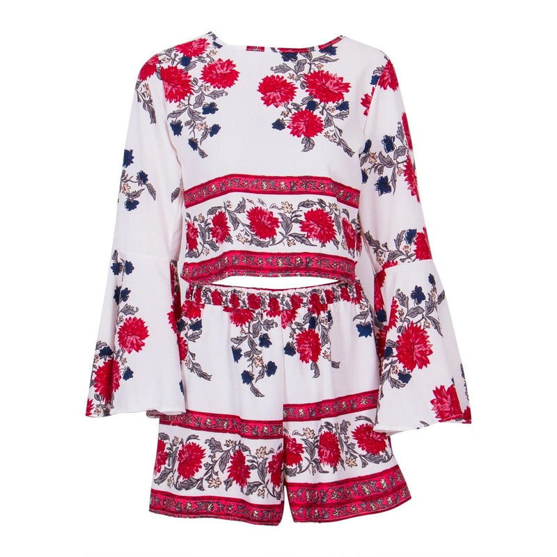 The Best 2PCS New Women Floral Bodycon Long Sleeve Crop Top + Shorts Set Summer Holiday Mini Playsuits Boho Floral Beachwear Online - Hplify