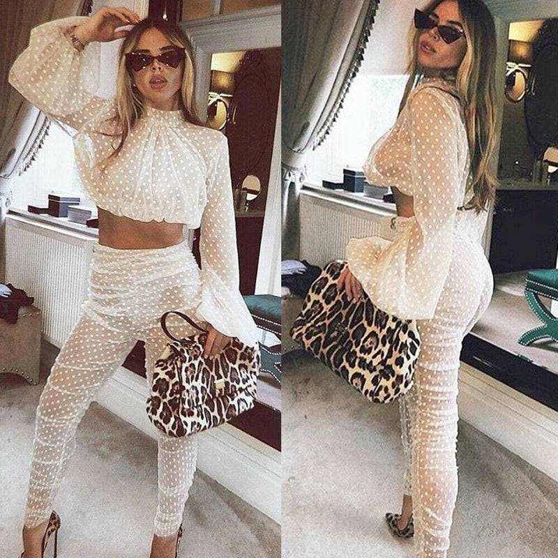 The Best 2PCS Sexy Women Summer Sheer Long Sleeves Bodycon Club Mesh Crop Top + Pants 2019 New Casual Jumpsuit Playsuit Online - Hplify