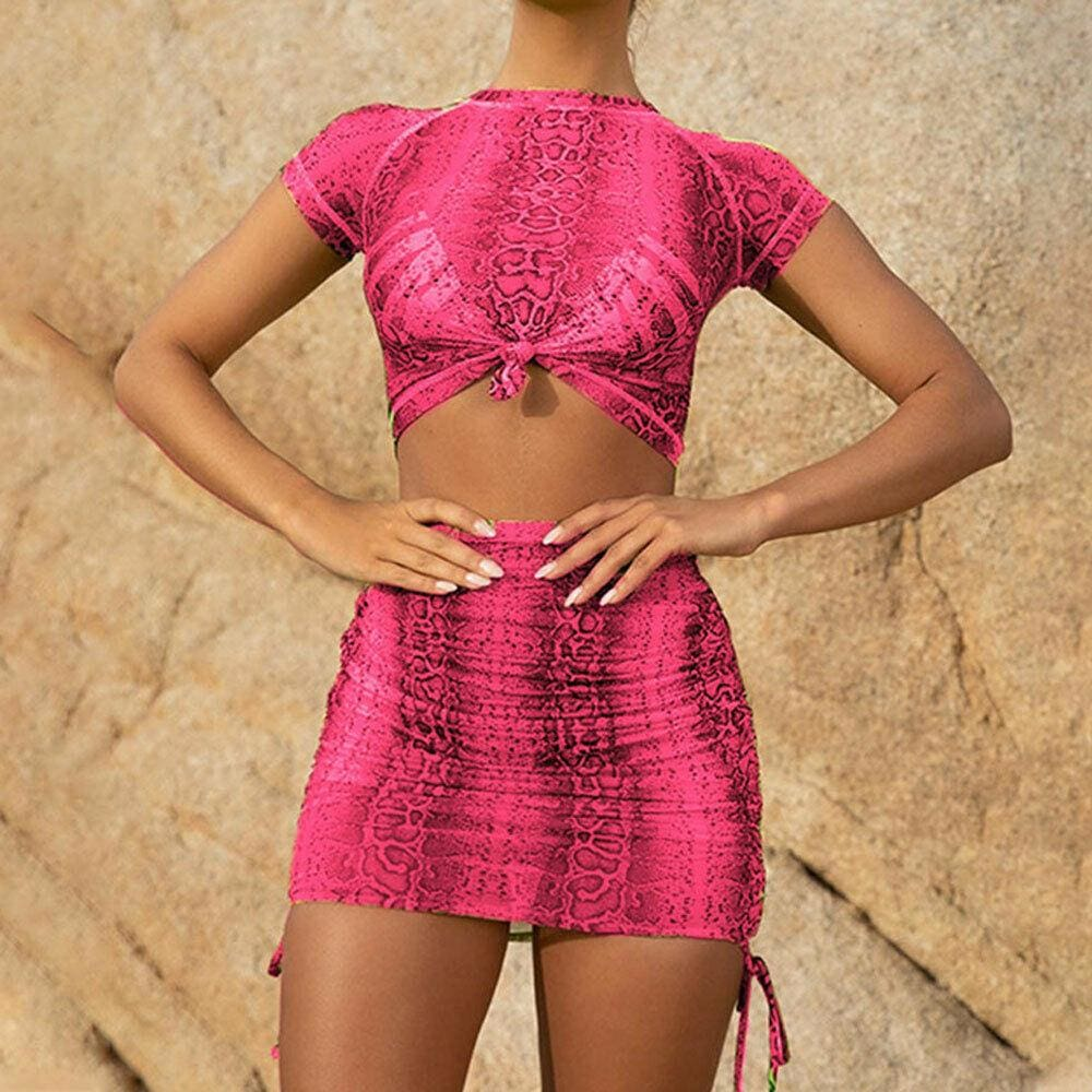 2Pcs Snakeskin Outfits Short Sleeve T Shirt Crop Top Mini Skirt Suits Bodycon New Fashion Summer Casual Women Clothes Sets - Hplify