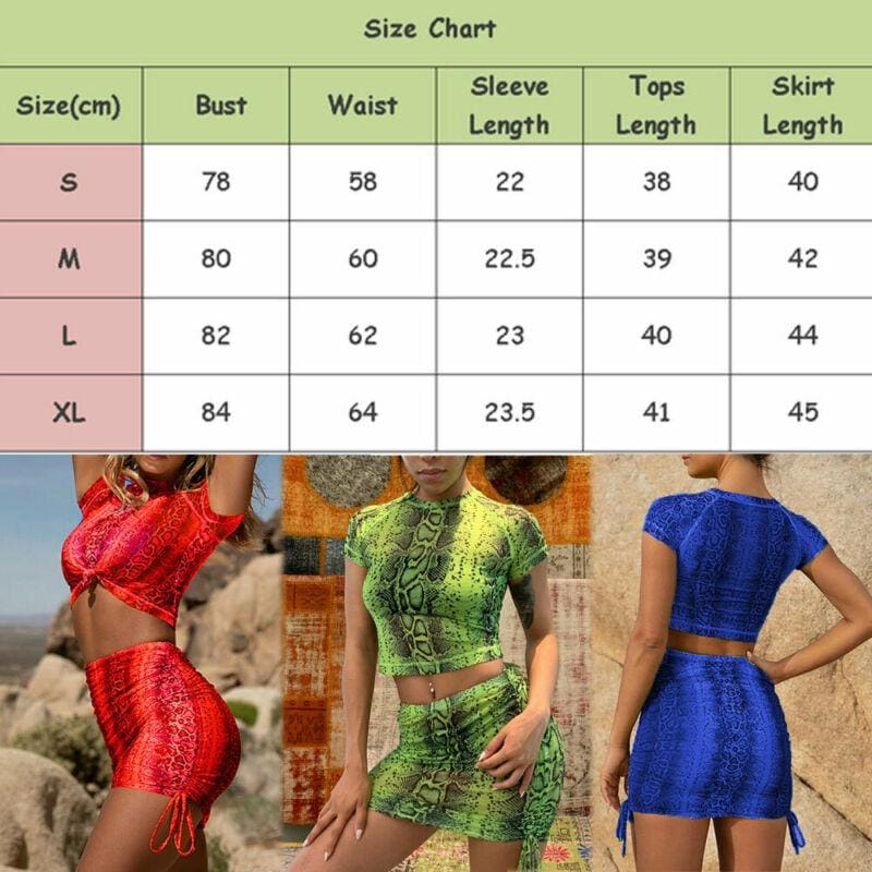 The Best 2Pcs Snakeskin Outfits Short Sleeve T Shirt Crop Top Mini Skirt Suits Bodycon New Fashion Summer Casual Women Clothes Sets Online - Source Silk