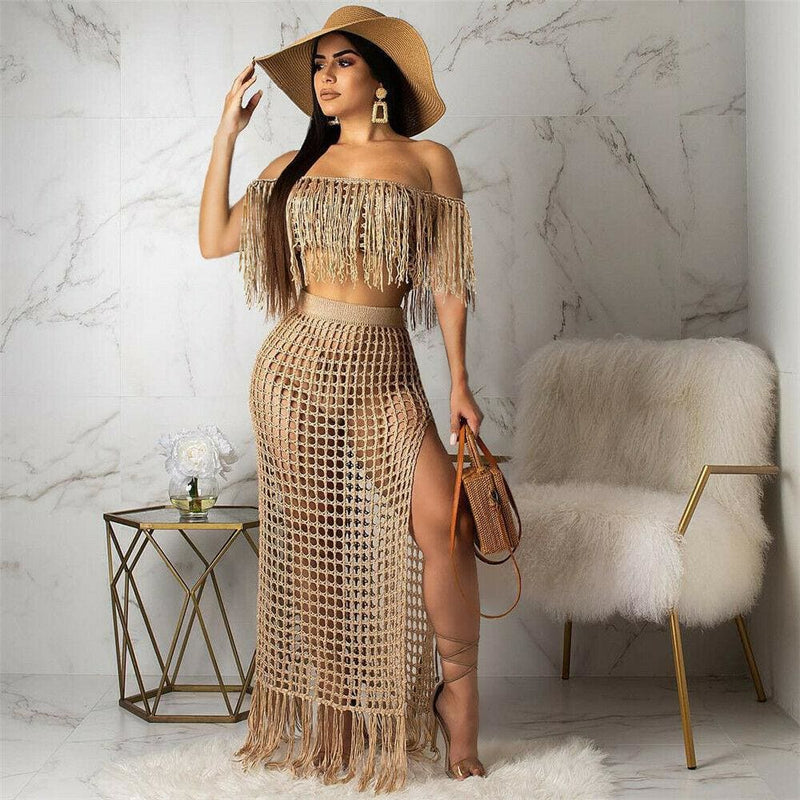The Best 2pcs Women Cover up Hollow Out Perspective Tassel Boat Neck High Slit Solid Casual Summer Beach Long Dress Online - Hplify