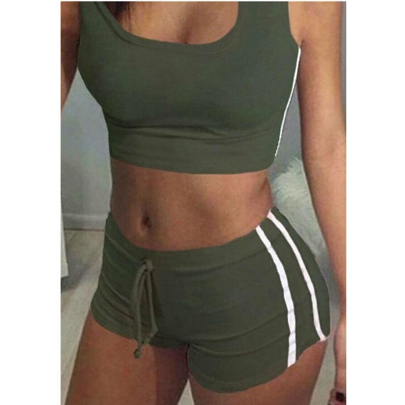 The Best 2Pcs Women Fitness Stretch Racerback Tank Top + Short Pants Suit Elastic Bra Sets Sexy Bodycon Clothing Sports Suit Online - Hplify
