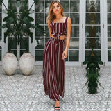The Best 2PCS Women Outfits Striped Sleeveless Bow Crop Top + Long Wide Leg Pants Casual Ladies Summer Holiday Loose Trouser Online - Source Silk