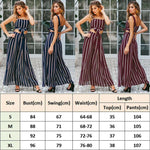 Buy Cheap 2PCS Women Outfits Striped Sleeveless Bow Crop Top + Long Wide Leg Pants Casual Ladies Summer Holiday Loose Trouser Online - Hplify