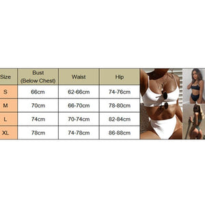 2Pcs Women Sexy Bandage Bikini Push-up High Waist Padded Bra Swimsuit Bathing Thong Monokini Swimwear Beachwear S-XL - Womens Beachwear