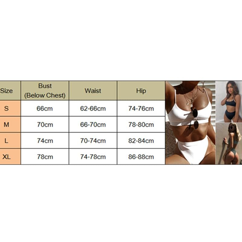 The Best 2Pcs Women Sexy Bandage Bikini Push-up High Waist Padded Bra Swimsuit Bathing Thong Monokini Swimwear Beachwear S-XL Online - Hplify