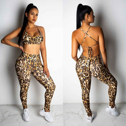 The Best 2PCS Women Sexy Leopard Sport Suit Backless Vest Bra Tops + Stretchy Legging Pants Leopard Tracksuit Hot Online - Hplify