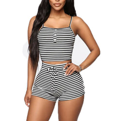 The Best 2PCS Women Sleepwear Summer Casual Bodycon Striped Crop Top and Shorts Outfits Clothes Sport Pajama Sets Online - Hplify
