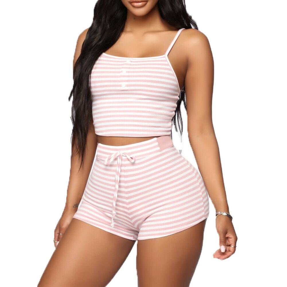 Buy Cheap 2PCS Women Sleepwear Summer Casual Bodycon Striped Crop Top and Shorts Outfits Clothes Sport Pajama Sets Online - Hplify