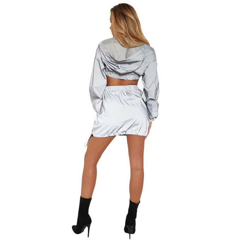 The Best 2pcs Women Summer Sport V-Neck Hoodie Suit Silver Zipper Crop Top Skirt Fashion Ladies Casual Outfit Long Sleeve Clothes Online - Source Silk