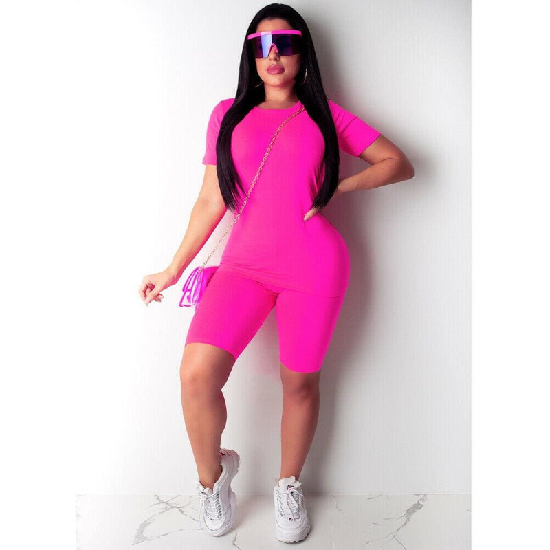 The Best 2PCS Women T Shirt Tops + Shorts Pants Bodycon Solid Color Jogging Gym Casual Outfit Sportswear Workout Tracksuit Online - Hplify