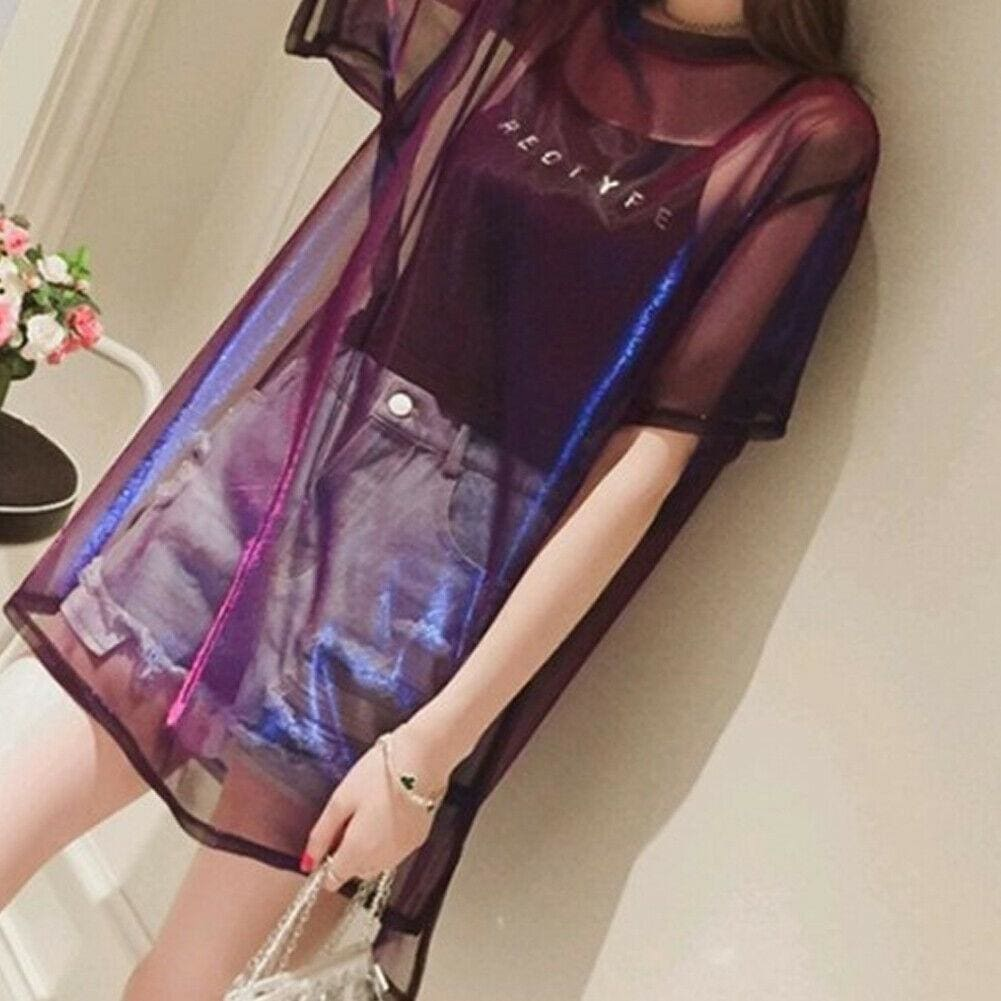 Buy Cheap 2PCS Women Transparent Mesh T-Shirt Short Sleeve Tee Tops Cover up + Camisole Vest Top Casual Crew Neck Stretchy T Shirt Online - Hplify