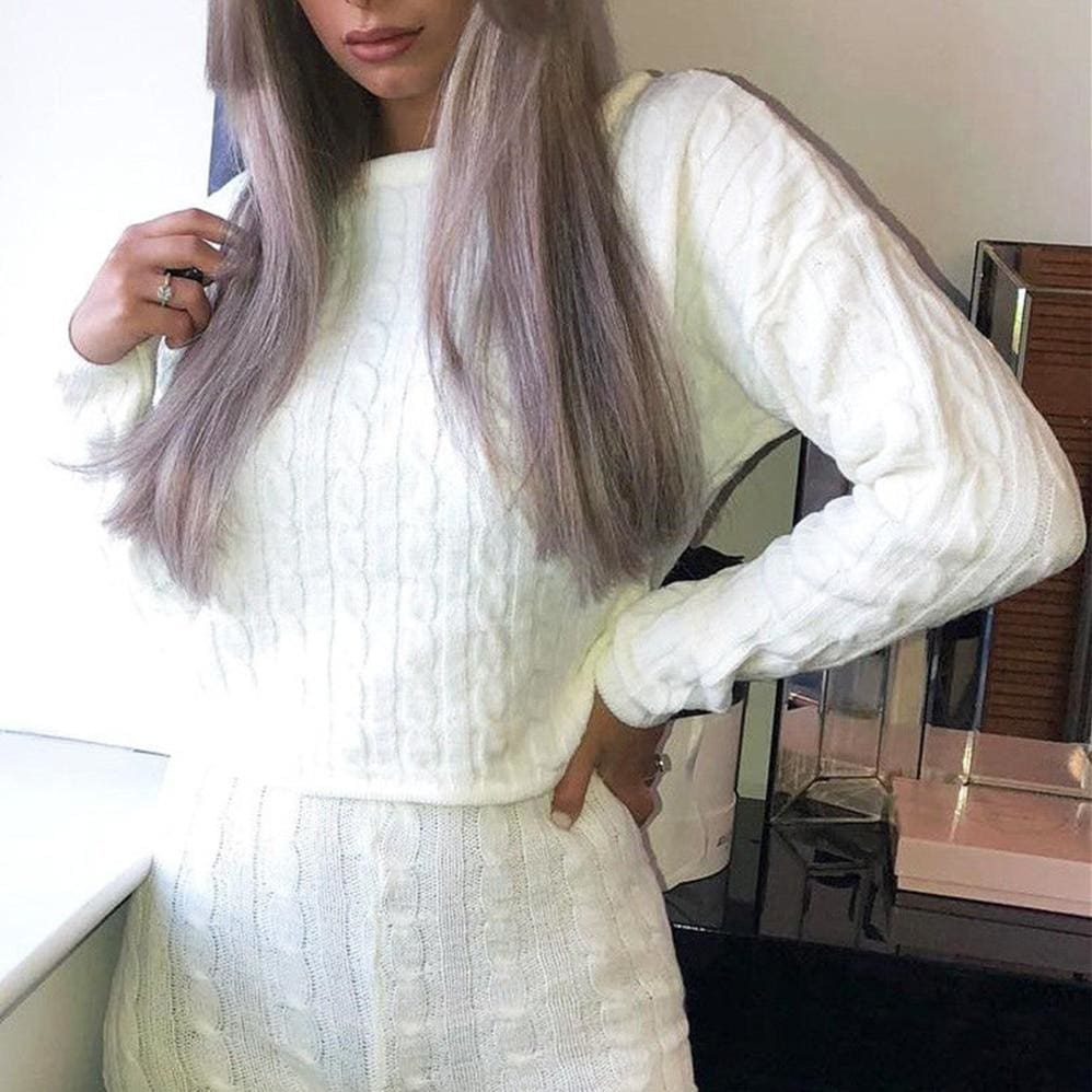Buy Cheap 2Pcs Women's Knitted Pullover Sweater + Short Pants Casual Long Sleeve Knitwear Jumper Tops Tracksuit Set Online - Hplify