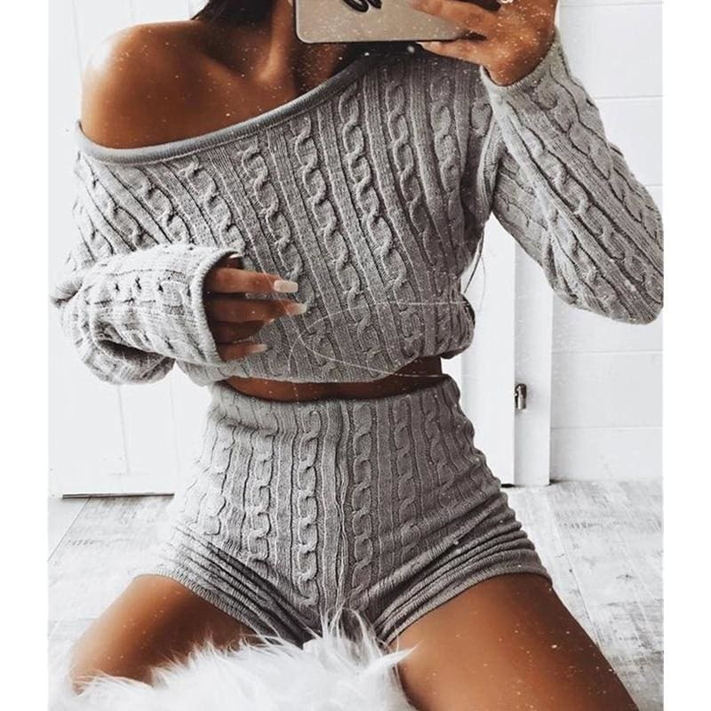 The Best 2Pcs Women's Knitted Pullover Sweater + Short Pants Casual Long Sleeve Knitwear Jumper Tops Tracksuit Set Online - Hplify