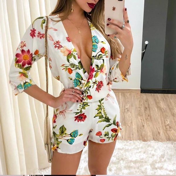The Best 3/4 sleeve wrap rompers womens jumpsuit Summer 2019 sexy v neck club playsuit Floral print jumpsuit shorts Casual overalls femme Online - Hplify