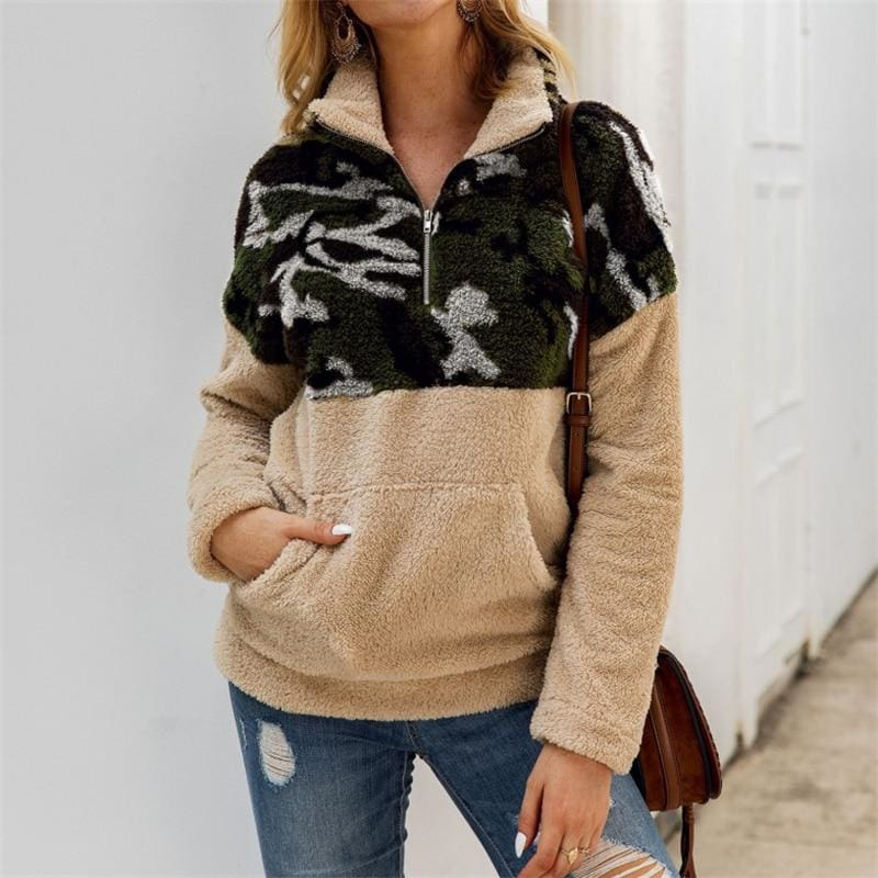 The Best 3 Color Fleece Sweater Fashion Camo Patchwork Fluffy Thick Sweaters Warm Zipper Pullovers Women Winter Clothes Coat Sherpa Tops Online - Source Silk