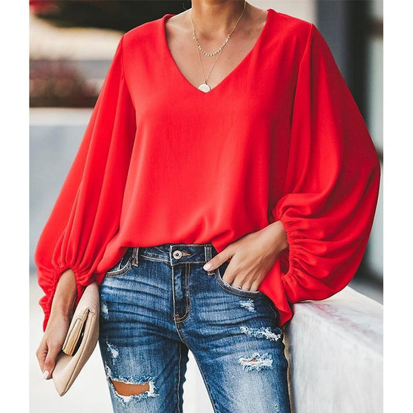 The Best 3XL plus size blouse women puff sleeve solid color womens tops and blouses Summer  v neck casual loose top blusas mujer Online - Hplify