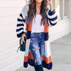 The Best Women's Stitching Color Loose Coat Online - Hplify