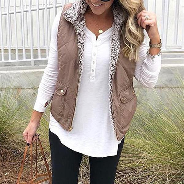 Buy Cheap Women's Fashion Zipper Double Sided Vest Online - SunLify