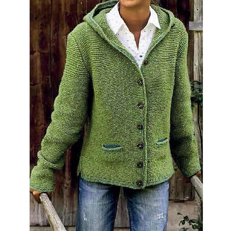 Buy Cheap Hooded Long Sleeve Knitted Cardigan Sweater Outerwear Online - SunLify