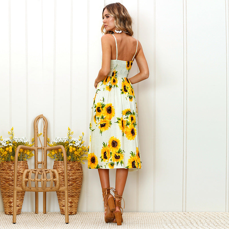 The Best Sunflower Printing Button Up A Line Off Shoulder Sleeveless Dress Online - Source Silk