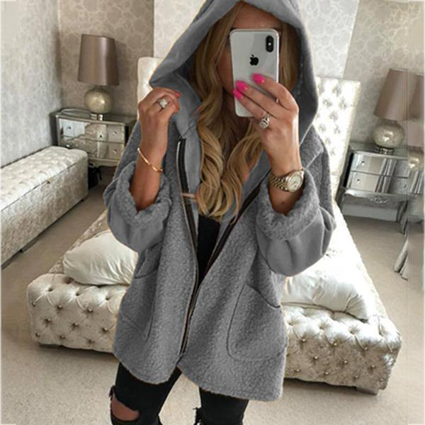 The Best Daily Casual Zipper Solid Color Hooded Coats Online - Hplify