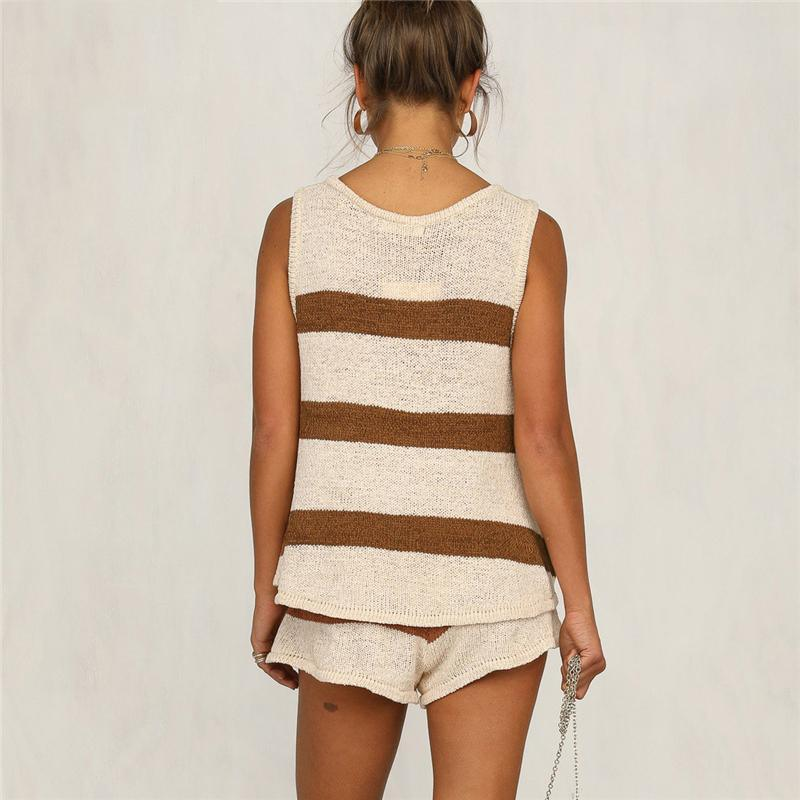 The Best Summer Striped Beach Strap V Neck Two Piece Set Crop Top And Shorts Online - Hplify