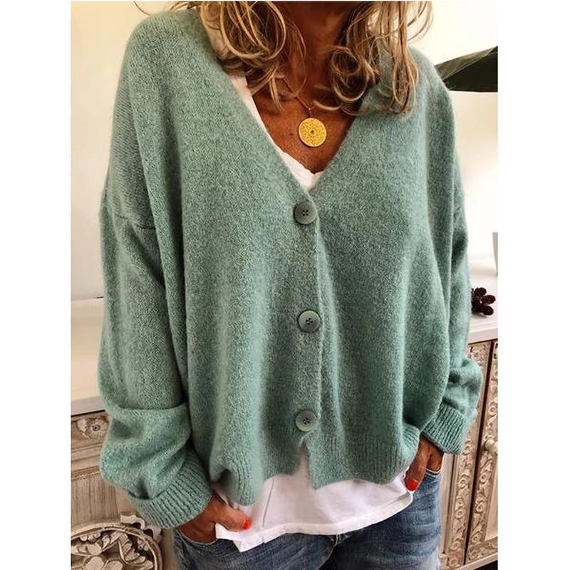 The Best Casual Solid Color Button Knitting Cardigan Online - Hplify