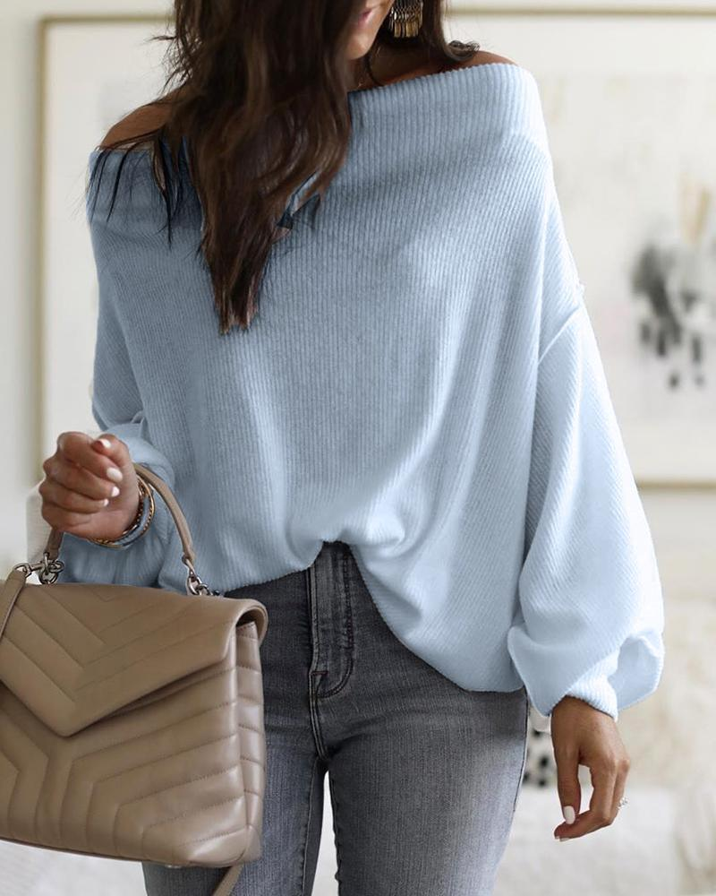 The Best Batwing Sleeve Off Shoulder Long Sleeve T Shirt Women Solid Casual Loose Winter Tops Streetwear Spring Blusa Mujer Online - Hplify